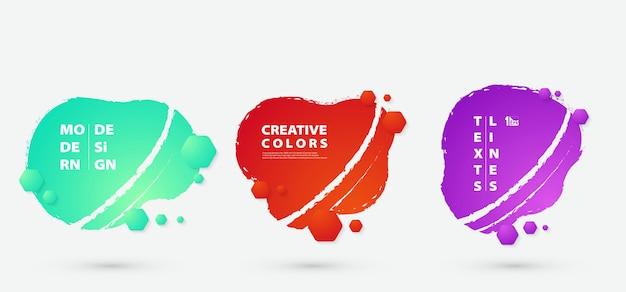 Insieme di disegno astratto colorato fluido esagono decorazione distintivi.