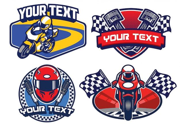 Insieme di disegno del distintivo di corse di moto