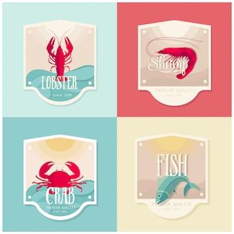 Insieme di disegno dell'etichetta di frutti di mare