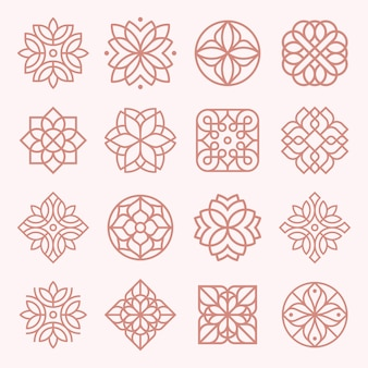 Insieme di disegno dell'ornamento logo e icona.
