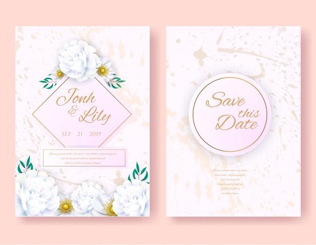 Insieme di disegno di carte carino floreale dell'invito di nozze.