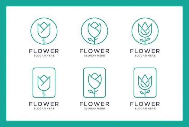 Insieme di disegno di marchio del fiore