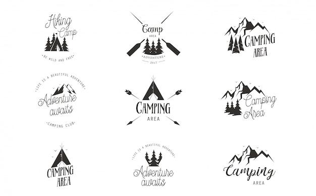 Insieme di disegno di marchio di campeggio