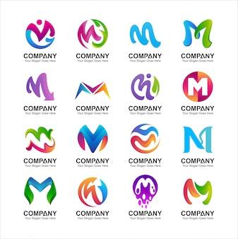 Insieme di disegno di marchio lettera m