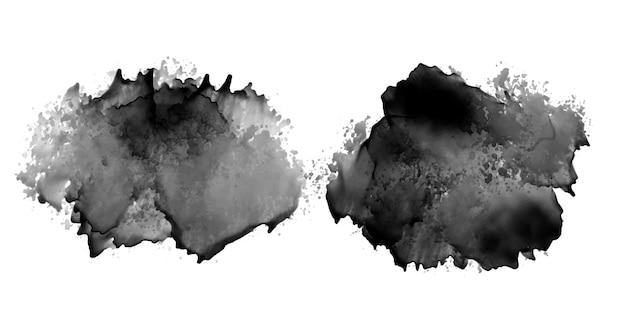 Insieme di disegno di struttura dell'acquerello della macchia di inchiostro nero di due