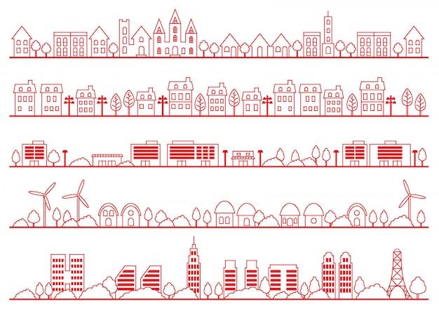 Insieme di disegno di townscape semplice