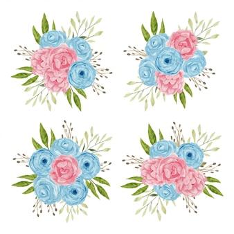 Insieme di disposizione dei fiori rosa dell'acquerello