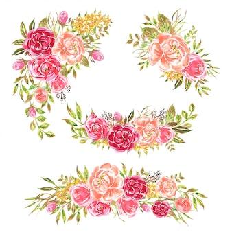 Insieme di disposizione dell'acquerello fiore rosa romantico morbido