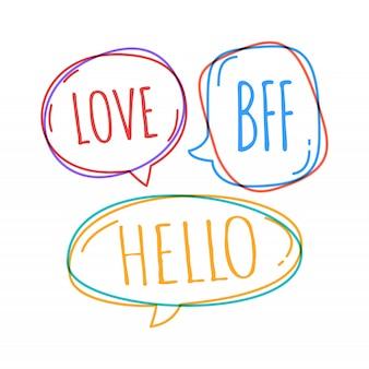 Insieme di diversi fumetti in stile doodle con testo amore, bff, ciao