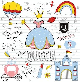 Insieme di doodle colorato su fondo di carta, doodles elementi della regina