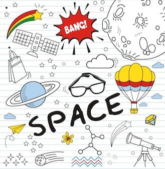 Insieme di doodle colorato su fondo di carta, doodles elementi dello spazio