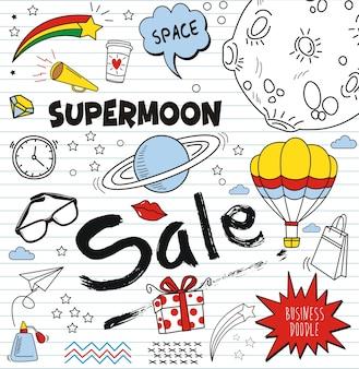 Insieme di doodle colorato su fondo di carta, elementi di vendita di doodles supermoon
