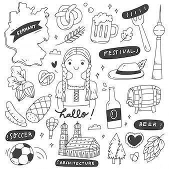 Insieme di doodle della destinazione di viaggio della germania