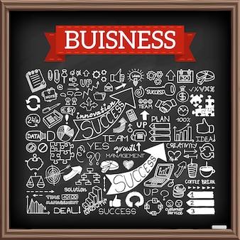 Insieme di doodle di affari disegnati a mano
