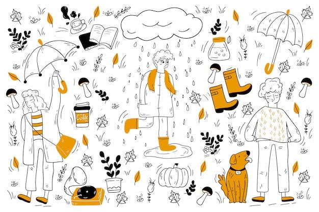 Insieme di doodle di autunno