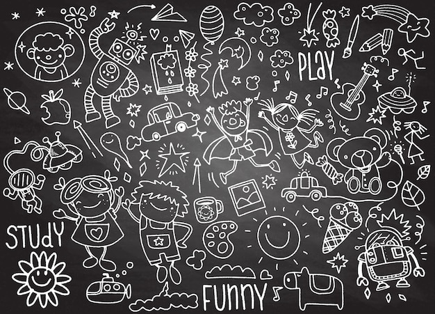 Insieme di doodle di bambini disegnati a mano