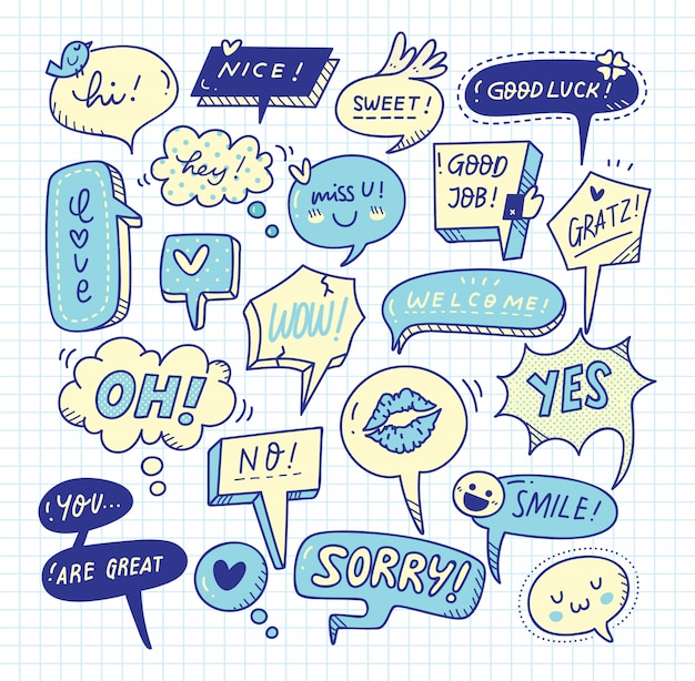 Insieme di doodle di bolla di discorso sveglio