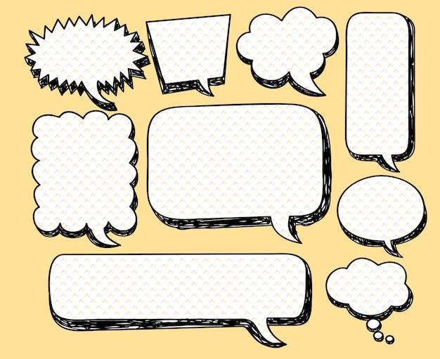 Insieme di doodle di bolla di discorso