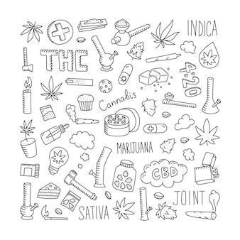 Insieme di doodle di cannabis