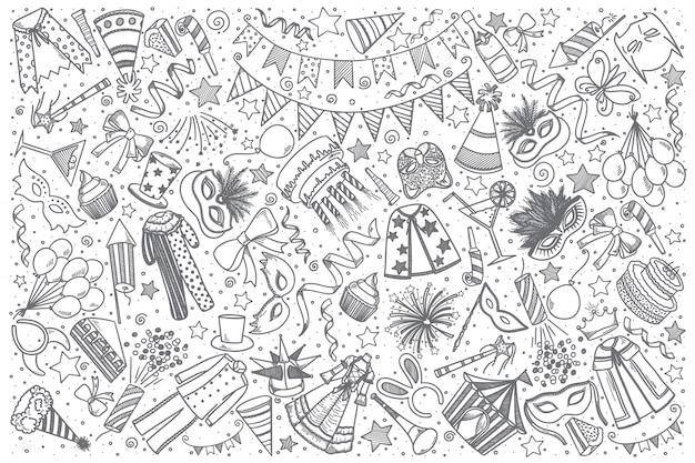 Insieme di doodle di carnevale disegnato a mano