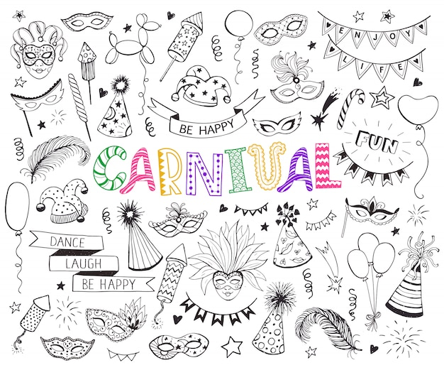 Insieme di doodle di carnevale