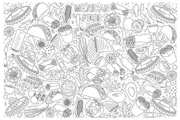 Insieme di doodle di cibo messicano