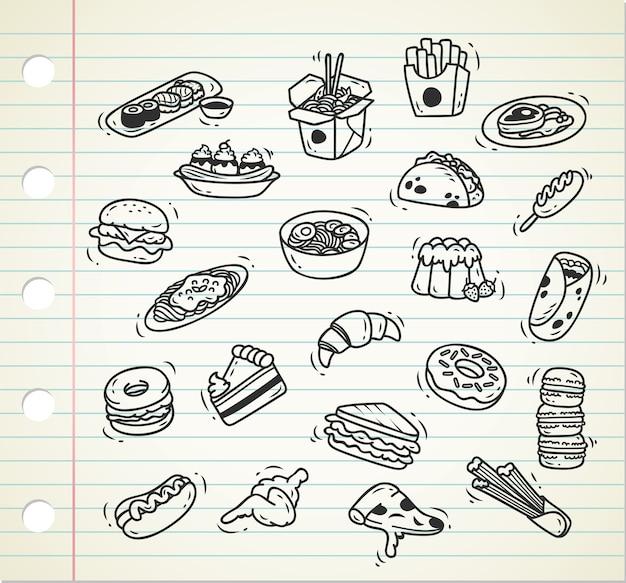 Insieme di doodle di cibo su fondo di carta