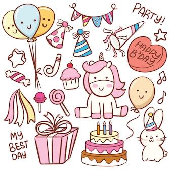 Insieme di doodle di compleanno carino