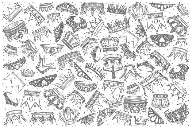 Insieme di doodle di corone disegnate a mano