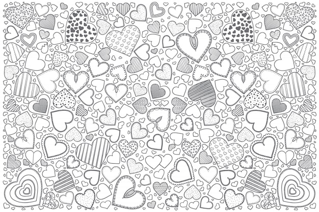 Insieme di doodle di cuori