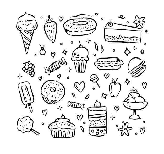 Insieme di doodle di dessert