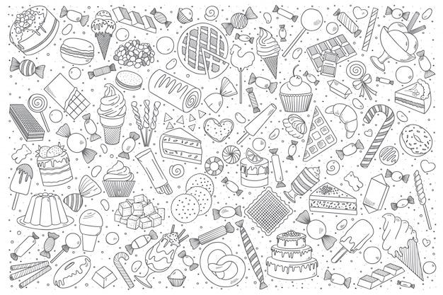 Insieme di doodle di dolci