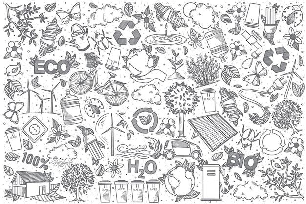 Insieme di doodle di ecologia disegnata a mano
