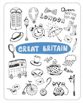 Insieme di doodle di elementi britannici