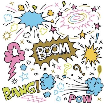 Insieme di doodle di esplosioni comiche disegnate a mano