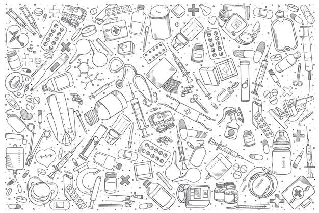 Insieme di doodle di farmacia disegnata a mano