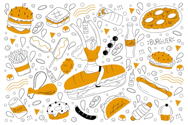 Insieme di doodle di fast food