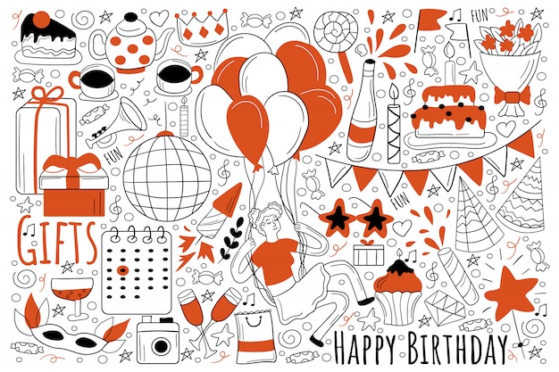 Insieme di doodle di festa di compleanno