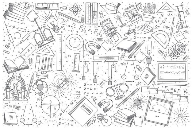 Insieme di doodle di fisica disegnata a mano