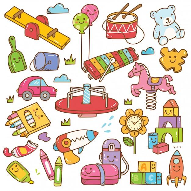 Insieme di doodle di giocattoli e attrezzature di asilo