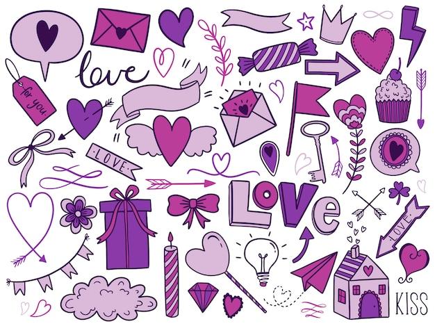 Insieme di doodle di giorno di san valentino