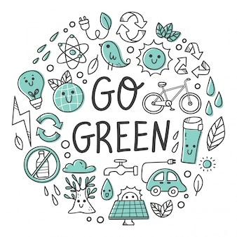 Insieme di doodle di kawaii di concetto di ecologia