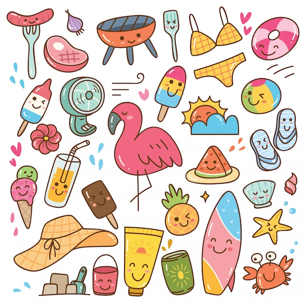 Insieme di doodle di kawaii di estate