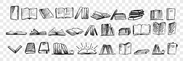 Insieme di doodle di libri disegnati a mano