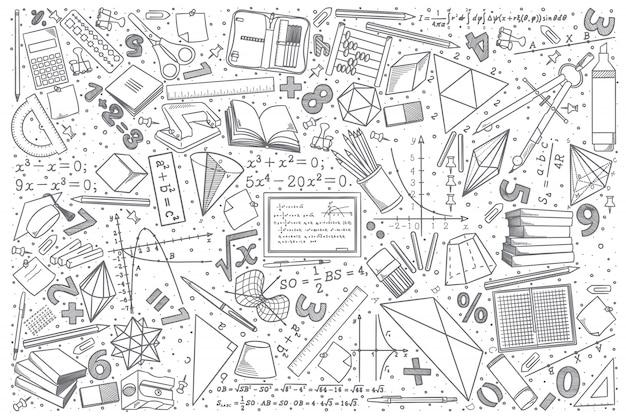 Insieme di doodle di matematica disegnata a mano