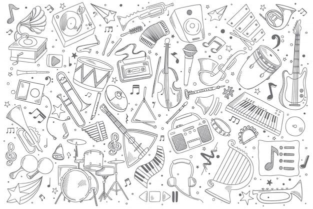 Insieme di doodle di musica