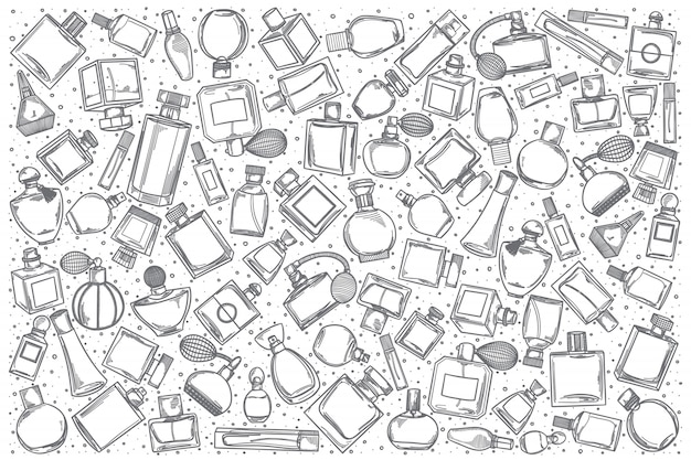 Insieme di doodle di profumeria disegnata a mano