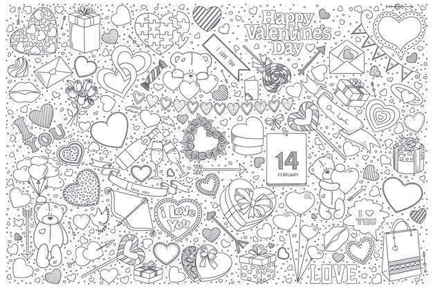 Insieme di doodle di san valentino