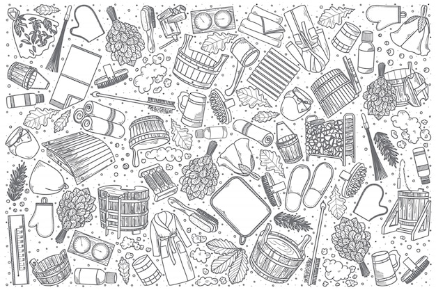 Insieme di doodle di stabilimento balneare disegnato a mano