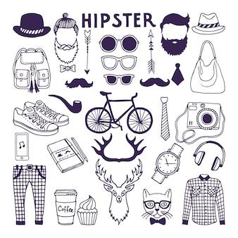 Insieme di doodle di stile disegnato a mano di elementi hipster. set di illustrazioni vettoriali